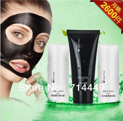 PILATEN blackhead removing 3pcs Set black head export liquidblack mud maskcompact toner acne treatment firm pore tender skin -- Click image to review more details.