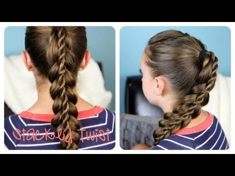 Stacked Twist Braid video tutorial!  Learn how to recreate this beautiful braid in under 5-minutes! #StackedTwist #Braid #Hairstyles