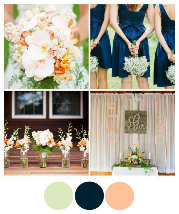 Peach and Navy Wedding Theme