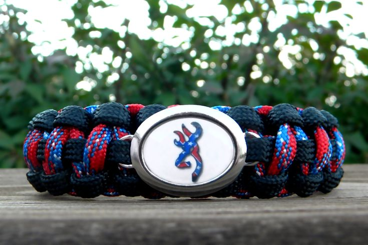 Paracord Bracelet with a Browning Rebel Flag Buck Image Charm Black and Confederate Free Continental US Shipping. $16.00, via Etsy.