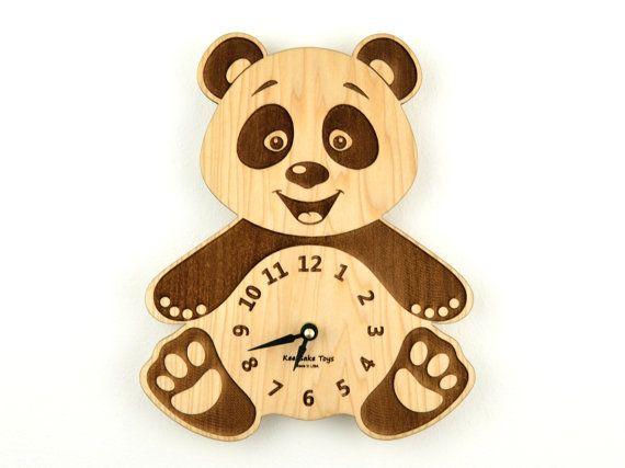 Wooden Clock Nursery Panda Bear Wall Clock Wood by KeepsakeToys, $48.00