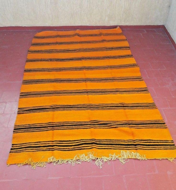 "old moroccan rug berber handmade striped kilim hanbal blanket carpet 9'2""x5'7"" #Handmade #NorthAfrican"