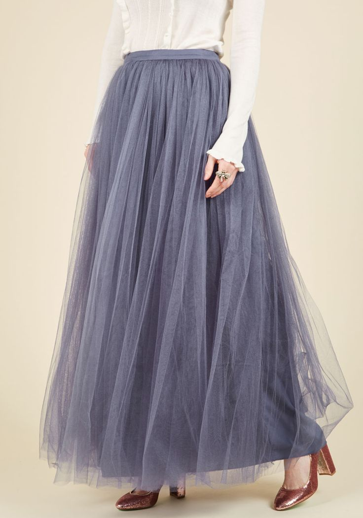 Tulle We Meet Again Maxi Skirt in Amethyst. Encountering this tulle maxi skirt is nothing more than the ultimate dream - or is it? #purple #modcloth