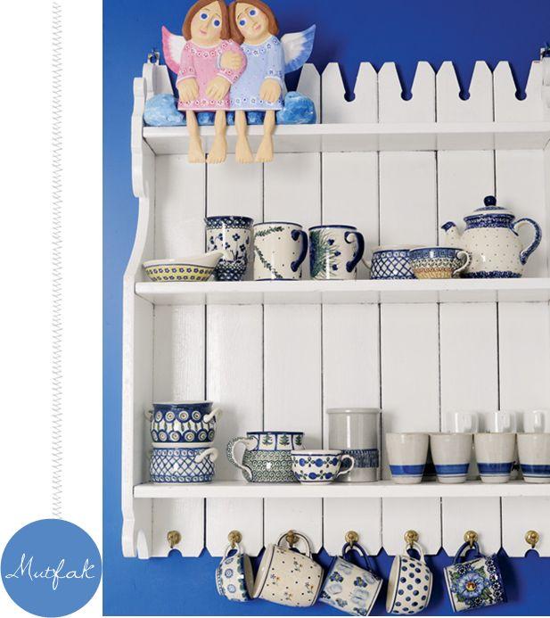 Mavi Beyaz Mutfak Dolapları - En Yeniler En İyiler