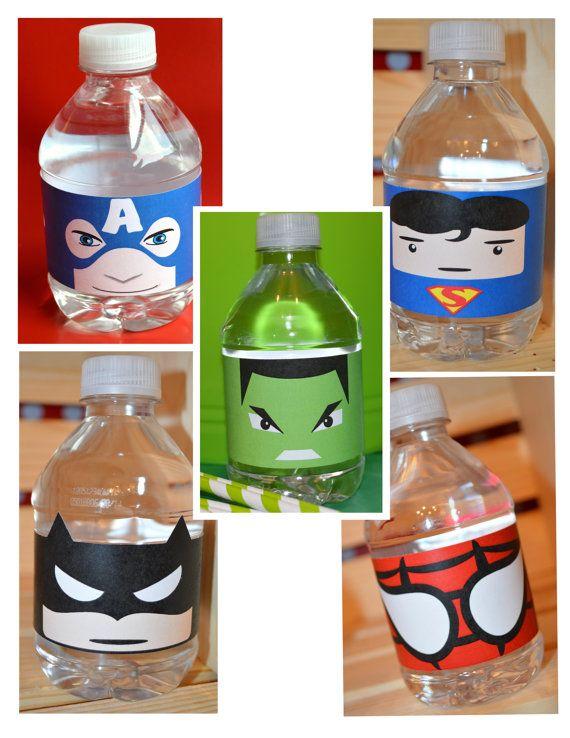 INSTANT DOWNLOAD Printable Superhero Water Bottle by bisonbleu, $5.00