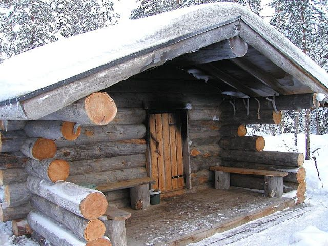 A traditional Finnish smoke sauna (savusauna) made out of logs in Oulu Province, Finland. (photo: Timo Newton-Syms)
