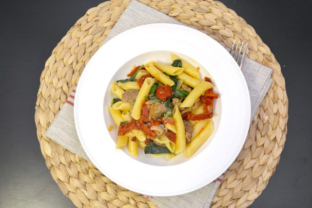 ... under $50: Pasta with Turkey Sausage, Spinach, and Sun-dried Tomatoes