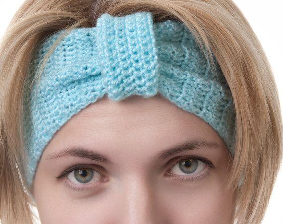 "Hand Knitted Blue Headband, Ear Warmer, Head Muff, Womens Earmuff via EtsyPlease click ""Like"" and visit my blog for crochet and fundraiser tip http://patternstriedandtrue.org"