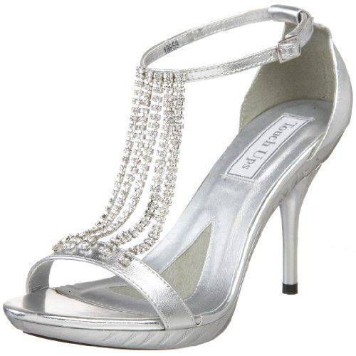 chained rhinestone tough up silver high heel prom sandals