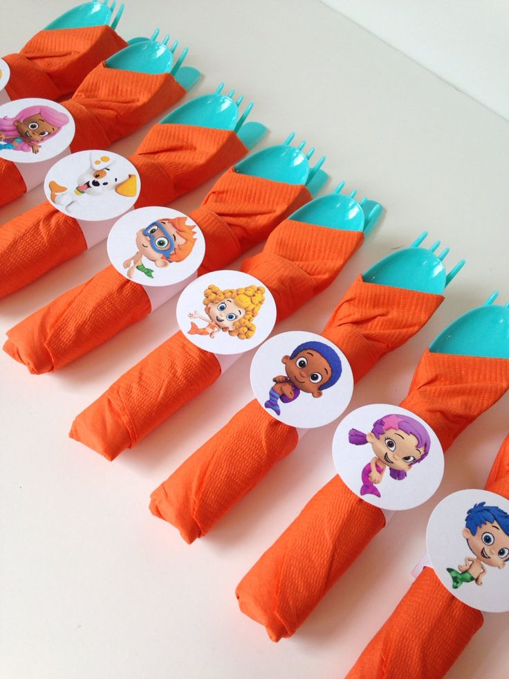 Bubble guppies Birthday Party Cutlery, wrapped utensils, party supplies by AlishaKayDesigns on Etsy