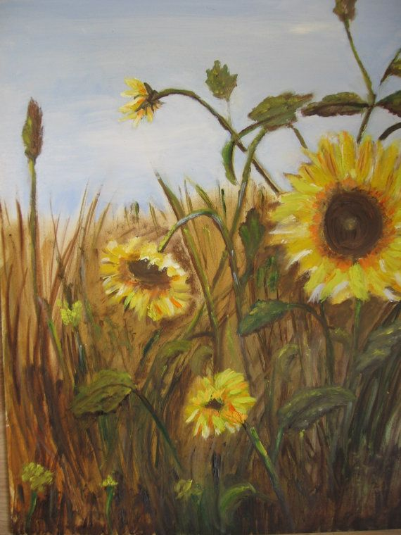 OIL PAINTING SUNFLOWERS home decoration Wall decor by MarikaArt