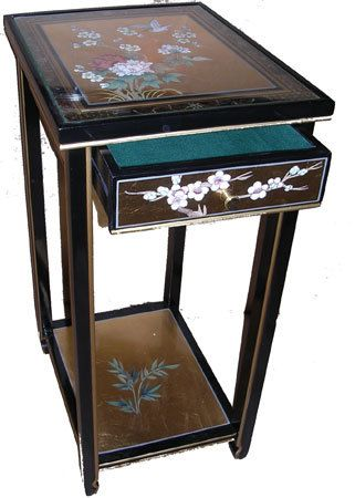 Oriental Furnishings - Chinese Stand, Painted Birds and Flowers--Drawer and shelf makes it a great phone or media/tablet charging station