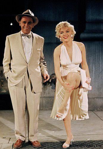 Marilyn Monroe on the set of The Seven Years Itch with Tom Ewell