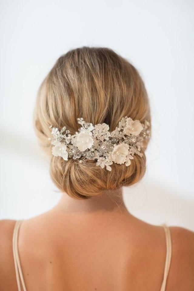 Wedding Lace Head Piece, Pearl Beaded Lace Headband, Wedding Headpiece, Wedding Hair Accessory, Ribbon Bridal Headband