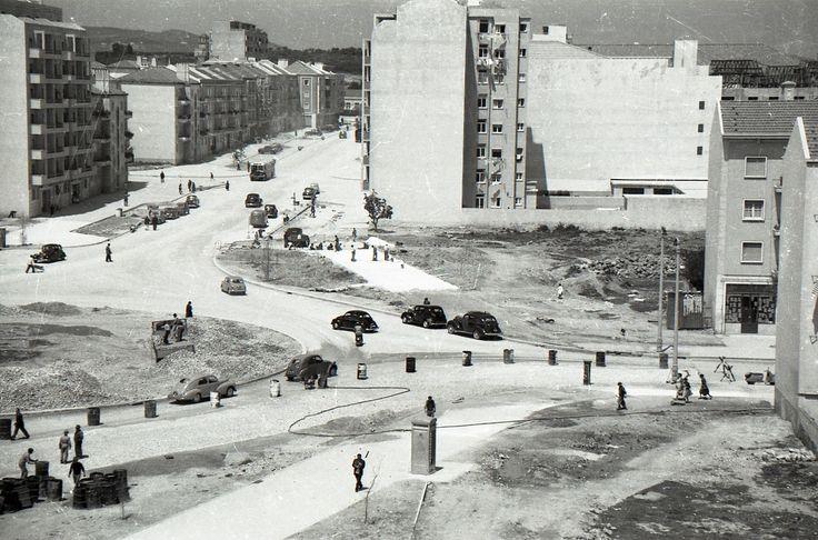 Construção da praça de Alvalade
