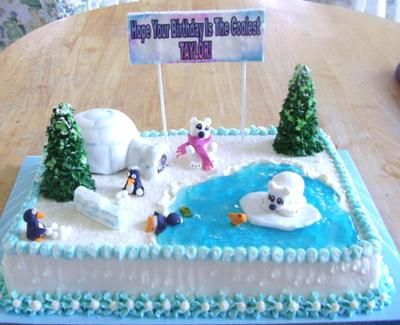 Winter Cake:  This is a sheet cake. The water is piping gel,the animals are all hand molded from fondant and the igloo is cake covered in fondant: