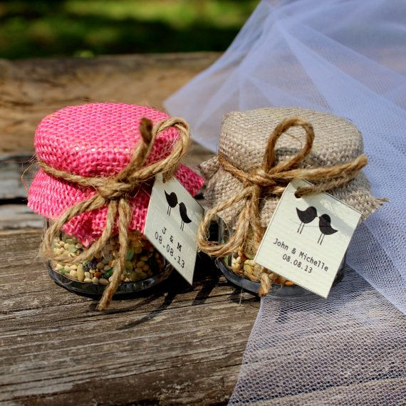 SET OF 24 Pink Brown Chic Birdseed wedding favor party favor Rustic Lovebirds country  anniversary baby shower favor bridal shower birds on Etsy, $72.00
