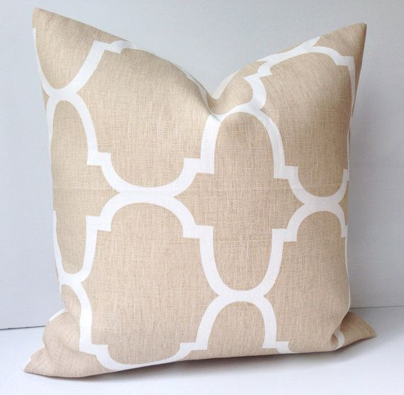 Throw Pillows Beige Couch : Neutral Decorative Throw Pillow Cover Couch Cushion Accent 20x20 Inch Beige Trellis Living ...