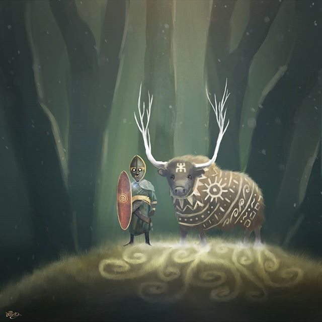 Guardians - African mythological illustrations #illustration #art #character #digitalart #fantasyart #ox #african #forest #tribal