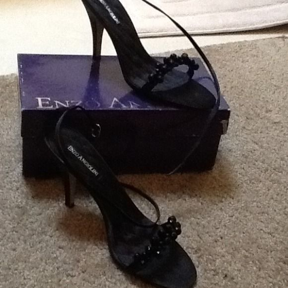 Black Satin Enzo Never Worn Size 9. Black Satin ankle strip Enzo Angiolini Shoes