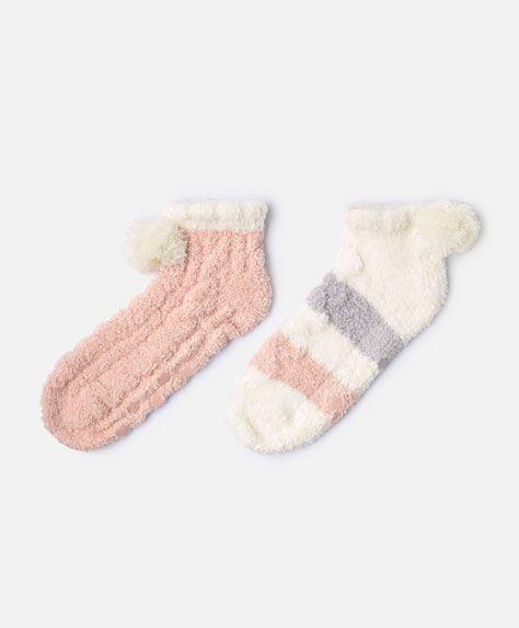 2-pack fluffy tassel socks