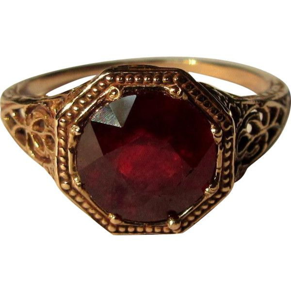 Vintage Ruby Ring Rose Gold Filigree 10k Liked On Polyvore Featuring Jewelry Rings Victorian Ring Solitaire Ring Filigree Ruby Ring Vintage Pink Gold Rings Rings