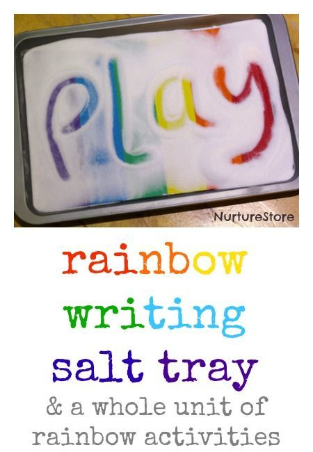 let your child have fun with a rainbow writing salt tray.. via /cathyjames/