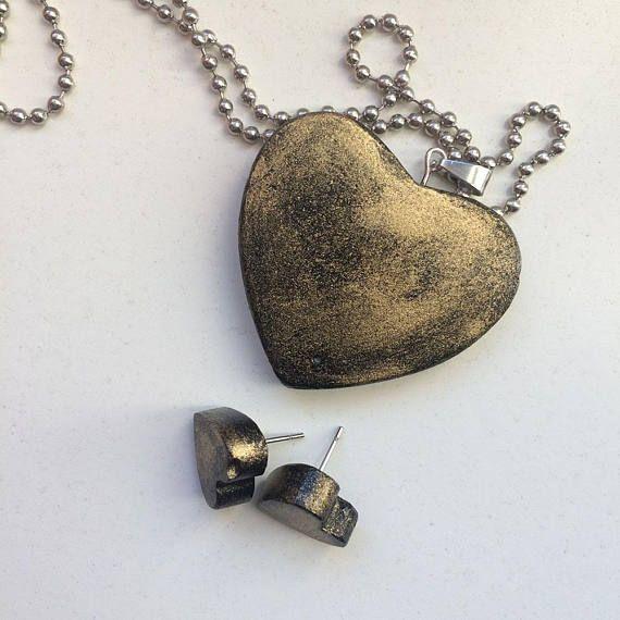 Heart earrings  pendant  Minimalist love gift for her  Love