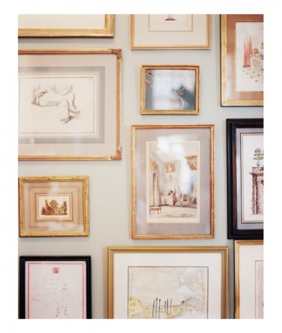 Gallery wall with gold frames.really need some adjustable picture hangers for this to look right