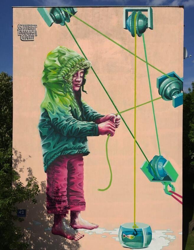 "Sweet Damage Crew, ""Golden Catch"" for East Side Street Art Festival in Bialystok, Poland, 2016"