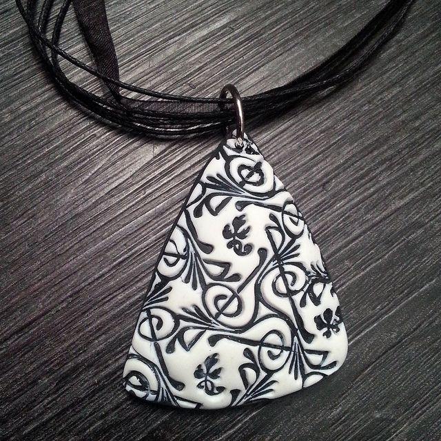 Polymer clay pendant necklace by Blanka Procházková.
