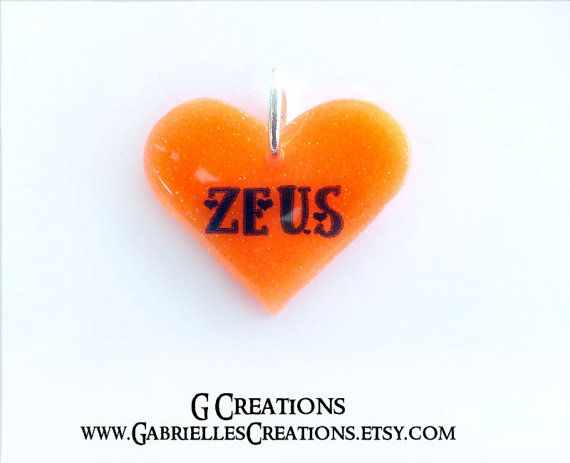 Orange Glow in the DARK Heart Dog ID Tag  by GabriellesCreations