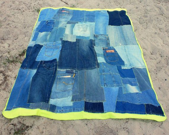 Denim Patchwork QuiltNeon  Lime Green Fleece Back Eco by PolClary