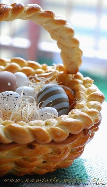 This is Beautiful!! Easter ideas for kids, Easter food ideas, Easter basket crafts, wicker looking bread Easter basket