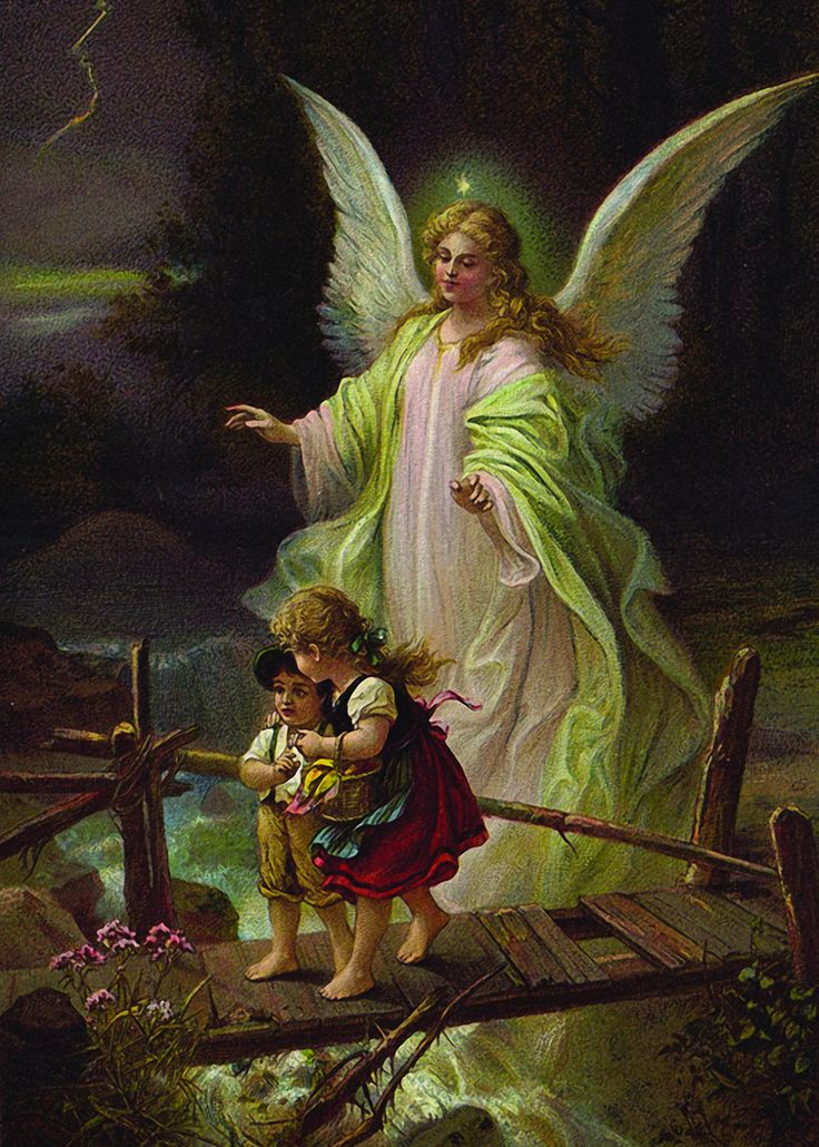 Glossy full-color print of the Guardian Angel with Children on Bridge suitable for framing. Image is from a turn-of-the-century, antique German postcard. Printed on Sterling Premium photo paper (made