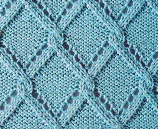 Lace triangle trellis - Russian knitting symbols with link to guide