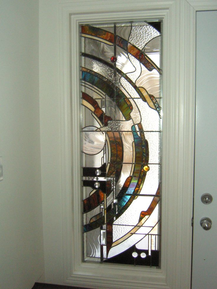 Abstract Stained Glass panel by Gary Wilkinson for Jennifer's front entranceway.