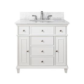 Lowe's Avanity Windsor White Undermount Single Sink Poplar Bathroom Vanity with Natural Marble Top (Common: 37-in x 22-in; Actual: 37-in x 22-in)
