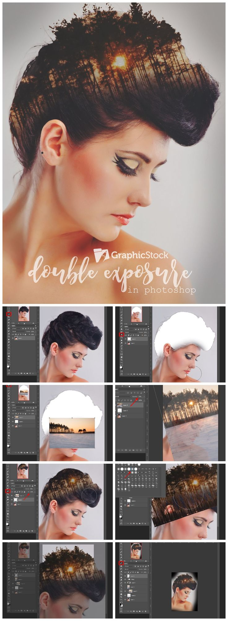 Here's a tutorial on how to do double exposure on Photoshop. Inspire your creativity with our unlimited downloads of high-quality, royalty-free photos, vectors, illustrations & other design elements from GraphicStock.