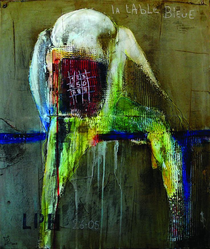 """tableau """"La table bleue""""  2013  bitume, acrylique et encres sur toile  63 x 54 cm"""