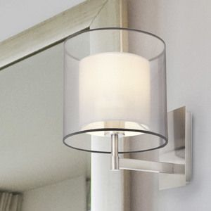 Applique en métal finition nickel avec abat jour cylindre en tissu diamètre 22cm Saba