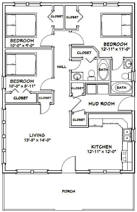 28x36 House 3 Bedroom 2 Bath 1008 Sq Ft Pdf Floor Etsy Bedroom Floor Plans Small House Floor Plans House Floor Plans