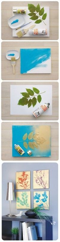 Cool leaf painting idea! Paint the canvas then put the leaves on it and spray paint over it with a different color.