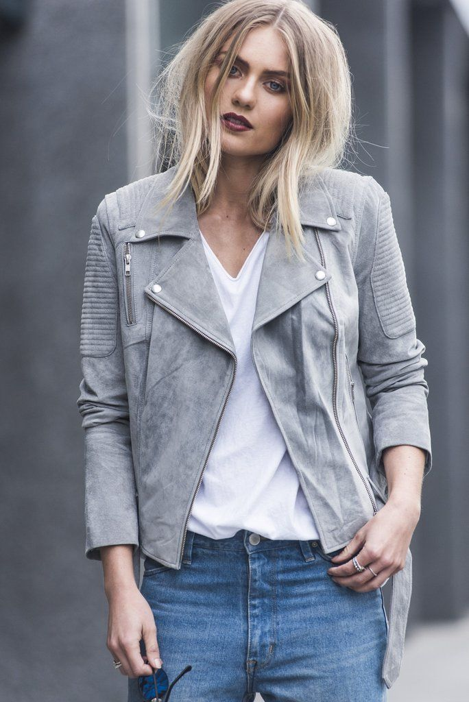 Spring fashion - ENA PELLY CLASSIC BIKER JACKET IN GREY SUEDE The Ena Pelly Suede Biker Jacket is crafted from soft suede and lined with satin fabric. Sophisticated ribbed panelling detail on shoulder sides and front gives this classic silhouette timeless appeal. This jacket has zipped cuffs and a belted waist. It is a timeless investment you'll wear season after season. #springsummer2017 #springstyle #springfashion