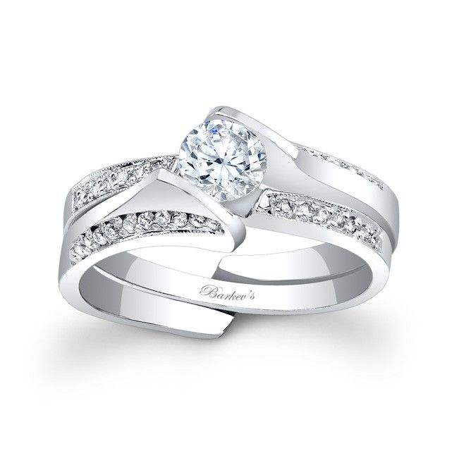 Diamond bridal set 7884sw stunning and unique this for Interlocking wedding bands