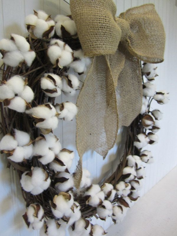 How+to+Make+Your+Own+Cotton+Boll+Branch+Wreath