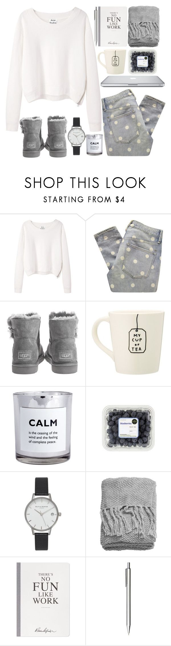 """""""Saturday"""" by dreamcloset1996 ❤ liked on Polyvore featuring Acne Studios, Marc by Marc Jacobs, Novo, UGG Australia, H&M, Olivia Burton, Selfridges, Muji, women's clothing and women's fashion"""