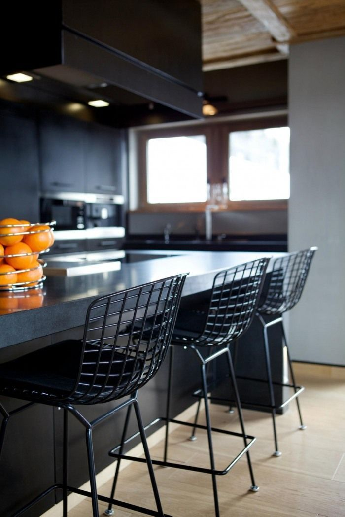 Black wired bar stools