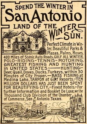 1915 Ad San Antonio Texas Winter Sun Travel Vacation  - ORIGINAL ADVERTISING