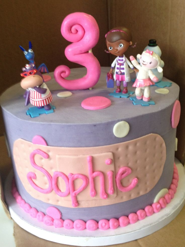 Doc McStuffins cake for my daughter's 3rd birthday! Super cute!!